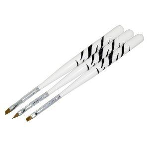 Penselenset 3-delig zebra voor het maken van gel- en acrylnagels.