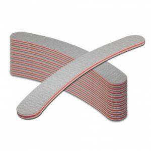 Nagelvijl Boomerang 100/180 grijs in een set van 10 stuks voor het maken van nagels.