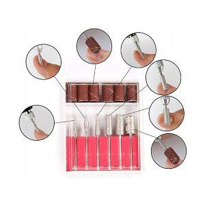 Nagelfrees bitset 6xdiamant bits voor het bewerken van de natuurlijke nagel en de kunstnagel.