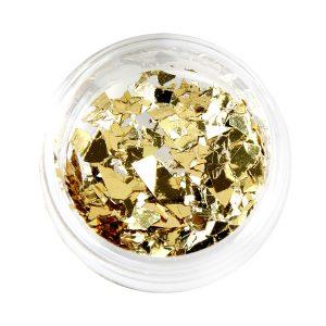 Nail Flakes in de kleur goud voor nageldecoratie.