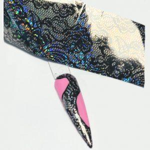 Transferfolie kant glitter-zart in combinatie met roze gel.