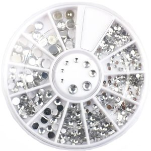 Rondel Strass Steentjes zilver voor een schitterende nailart.