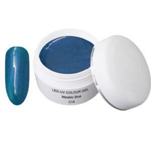Metallic Gel blauw is een led/uv gel met metallic effecten.