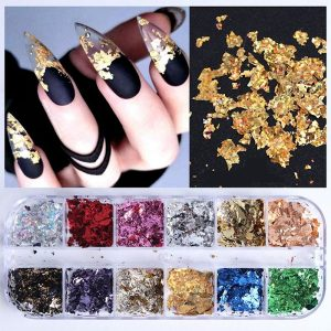 Flakes set bestaat uit 10 verschillende kleuren flakes voor nailart.