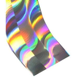 Transferfolie zilver wave met rainbow effect.