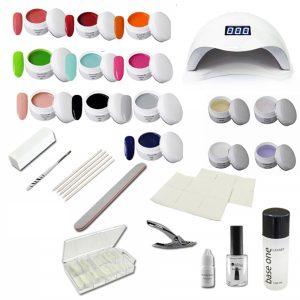 Ge;nagel starterset met LED_lamp en 10 kleuren gels.