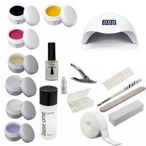 Starterset voor gelnagels met LED-lamp en trendy kleuren gels.