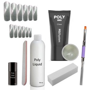 Poly Acrylgel set met gel in de kleur clear.