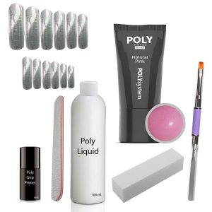 Poly Acrylgel set met de gel kleur natural pink.