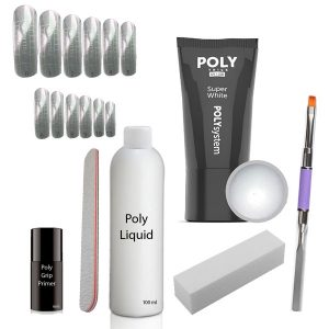 Poly Acryl gel set mt de gel kleur super white.