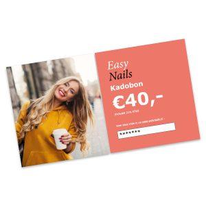 Kadobon van Easy Nails twv 40,00 Euro.