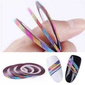 Striping tape in de rainbow kleuren met glitter voor aparte nail-art.