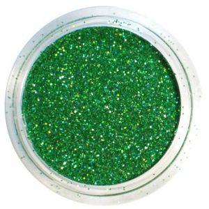 Glitterpoeder in de kleur groen.