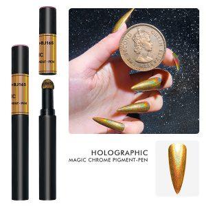 Chrom poeder in de kleur holo-goud in vorm van een pen.