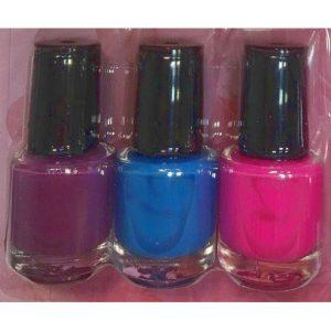 Stamping set 7 delig met de nagellak kleuren pink, blauw en paars.
