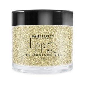 Dippoeder in goud-glitter, ook voor acrylnagels.
