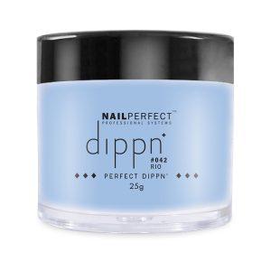 Dippoeder in een blauwe kleur met fijne glitter effecten.