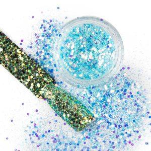 Nail art chunky glitter 32 in de kleur aqua.