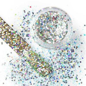 Chunky glitter 37 voor een nail art nagel met speciale effecten.
