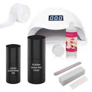 Starterset Rubber Base gel met de kleur clear.