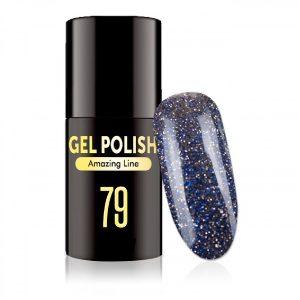 Gellak in de kleur glitter blue-black.
