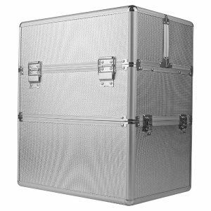Grote 2delige nagelkoffer, make-up koffer, kapperskoffer in de kleur zilver.