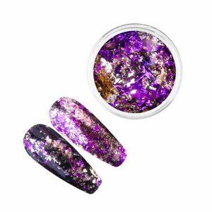 Nail art flakes met chroom in 2 verschillende kleuren.