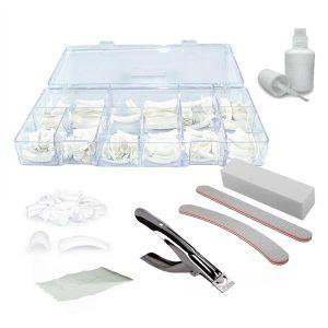 Nageltip set met 300 witte tips voor het naken van french manicure.