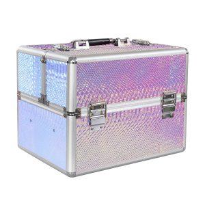 Nagelkoffer pink-croco-holo de ideale koffer voor alle nagelspullen.