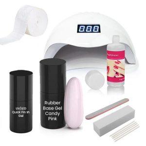 Rubber Base gel starterset met de kleur candy-pink.