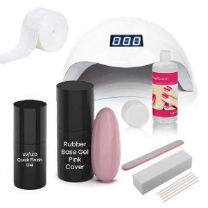 Rubber base starterset in de kleur pink cover voor het maken van mooie nagels.