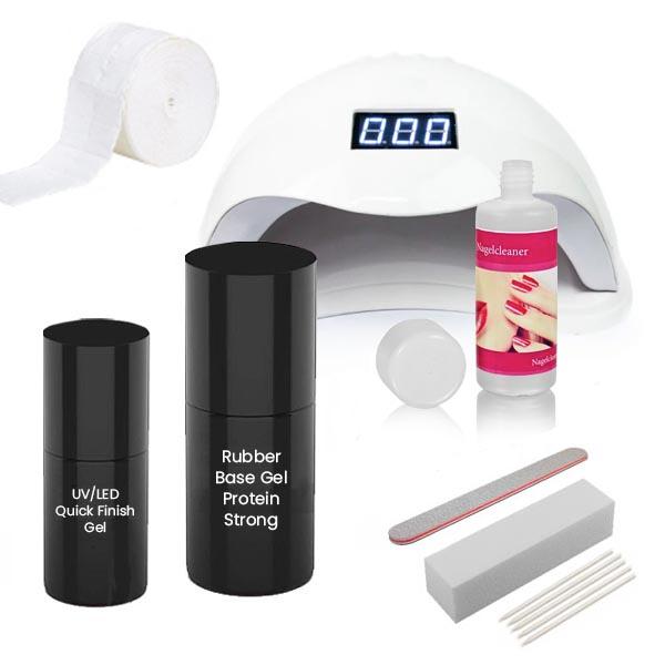 Rubber base starterset met protein strong voor het extra verstevigen van de natuurlijke nagel.