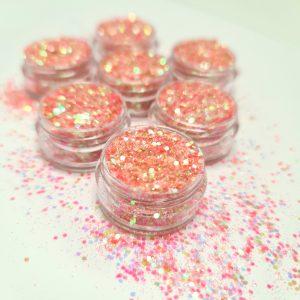 Glitter pailletten klein peach voor aparte nageldecoratie.