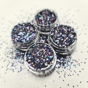 Glitter pailletten klein holo black voor mooie nagels.