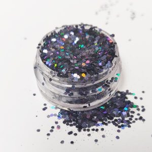 Glitter Pailletten klein holo black voor leuke nailart.