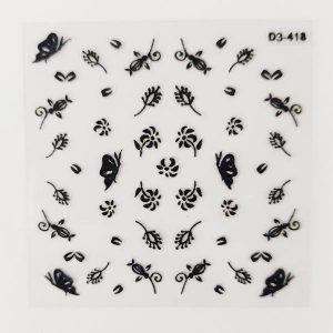 Nagelsticker Florale black 2 voor een trendy nageldeco.