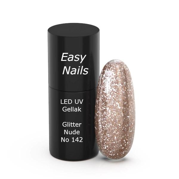 LED/UV gellak 142 glitter nude is een gelnagellak met fijne glitters.