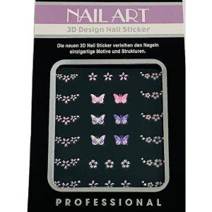 Nagelsticker Girly 6 met vlinders en bloemetjes voor een trendy nailart.