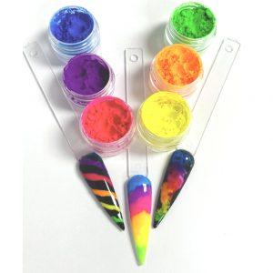 Neon Pigment poeder set met 6 neon kleuren.