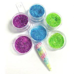 Glitterpoeder set Fairy voor een leuke nageldecoratie.