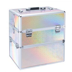 Koffer rainbow-zilver XL is een perfecte koffer voor iedere nagelstyliste.