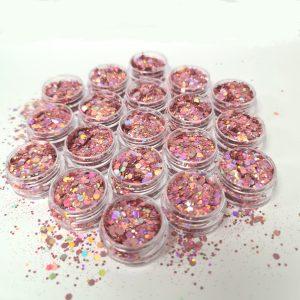 Pailletten mix antiek roze voor een aparte nageldeco.