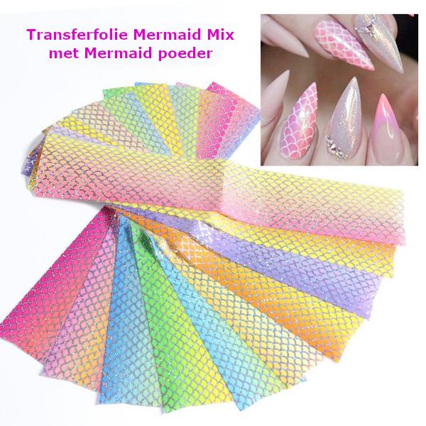 Transferfolie set Mermaid mix in combinatie met mermaid-poeder.