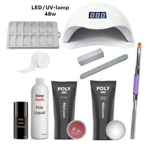 Polygel set led/uv-lamp 2 kleuren voor het verstevigen van de eigen nagels.
