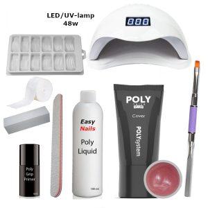 Polygel set led/uv-lamp cover voor het verstevigen van de nagels met polygel.