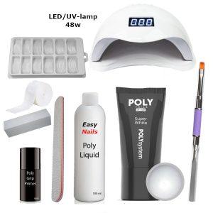 Polygel set led/uv-lamp super white voor het verstevigen van de nagels met polygel.