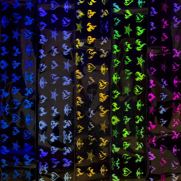 Transferfolie box flame met Glow in the Dark effect.