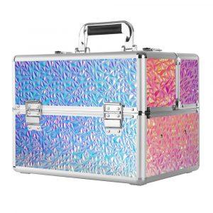 Koffer retro-holo-unicorn voor het veilig bewaren van alle nagelproducten.