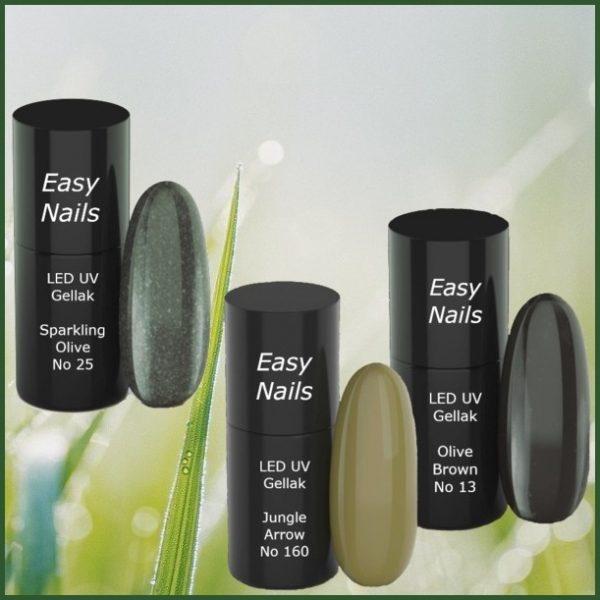 LED-UV gellak set olive voor prachtige gellak kleuren op jouw nagels.